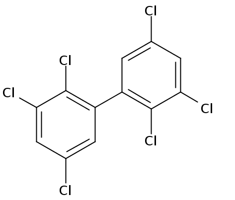 Chemical Structure for 2,2',3,3',5,5'-Hexachlorobiphenyl Solution