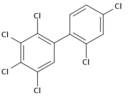 Chemical Structure for 2,2',3,4,4',5-Hexachlorobiphenyl Solution