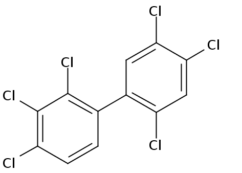 Chemical Structure for 2,2',3,4,4',5'-Hexachlorobiphenyl Solution