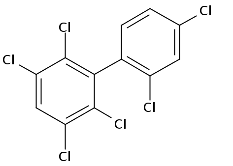 Chemical Structure for 2,2',3,4',5,6-Hexachlorobiphenyl Solution