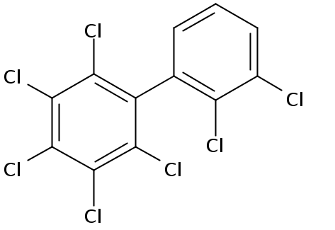 Chemical Structure for 2,2',3,3',4,5,6-Heptachlorobiphenyl Solution