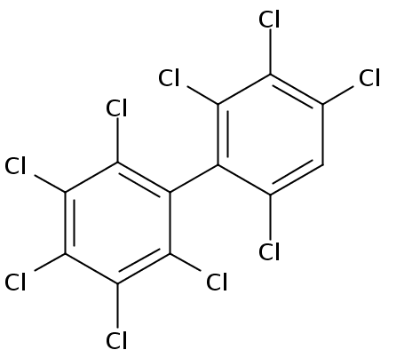 Chemical Structure for 2,2',3,3',4,4',5,6,6'-Nonachlorobiphenyl Solution