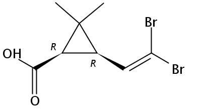 Chemical Structure for 3-(2,2-Dibromovin.)2,2-dimethyl-(1-cycloprop.)carb.acid(cis)